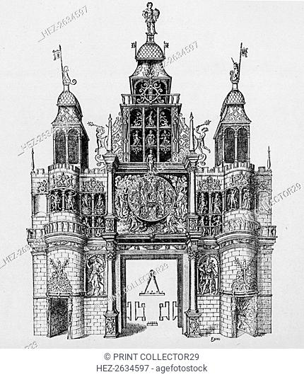 Triumphal arch erected at the time of the coronation of King James I, 1604 (1903). Artist: Unknown