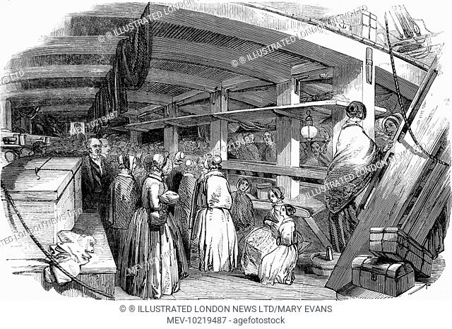 Engraving showing 'distressed' needlewomen below decks on an emigrant ship, with their belongings, making themselves confortable before the voyage begins