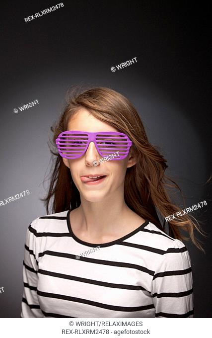 Girl teenager portrait sunglasses funny cool silly