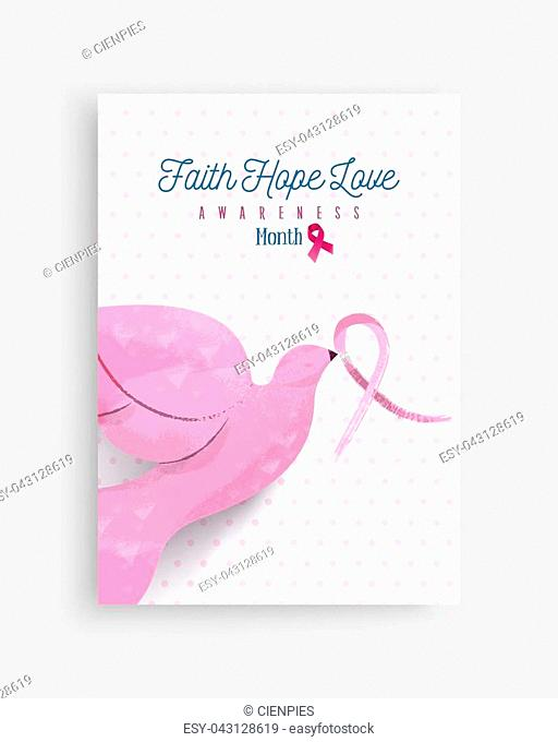 Breast cancer awareness month illustration with pink hand drawn dove bird holding ribbon bow for support campaign. EPS10 vector