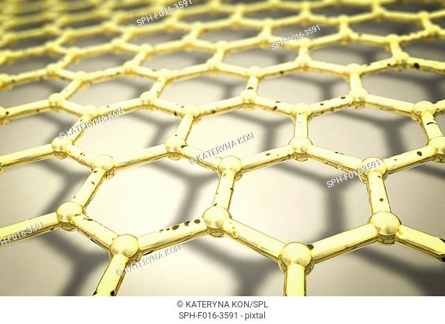 Graphene, computer illustration. Close-up view of the molecular structure of graphene, a single layer of graphite. It is composed of hexagonally arranged carbon...