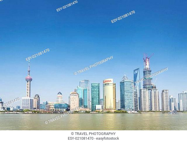 pudong skyline in shanghai china