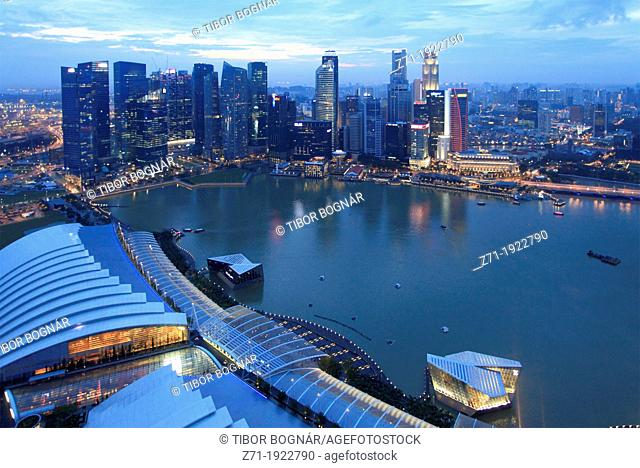 Singapore, Central Business District, skyline, Marina Bay Sands Resort
