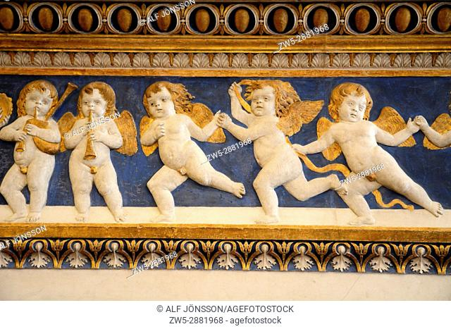 Frieze with angels in Palazzo Ducale in Urbino, Marche, Italy