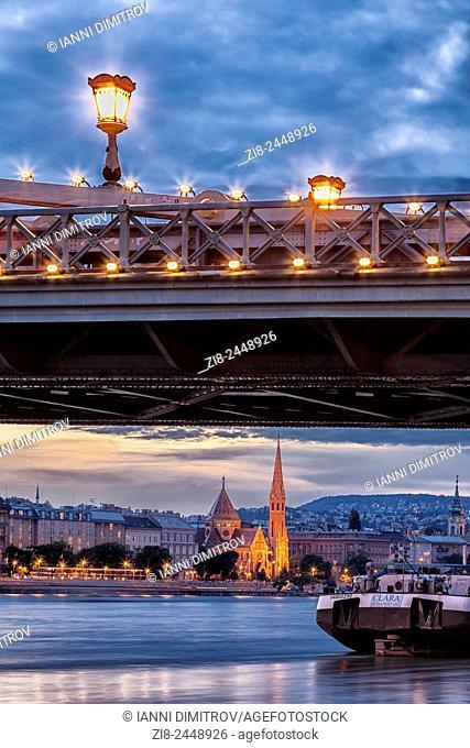 Buda Calvinist Church,Szechenyi Chain Bridge. river Danube at night,Budapest Hungary