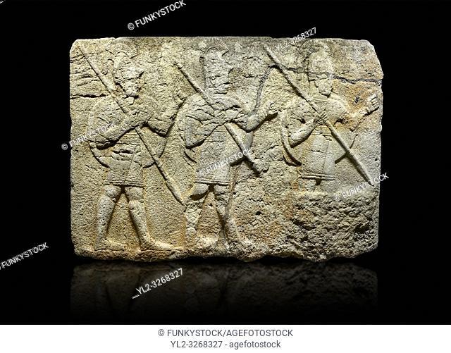Hittite monumental relief sculpted orthostat stone panel from the Herald's Wall. Basalt, Karkamıs, (Kargamıs), Carchemish (Karkemish), 900-700 B. C