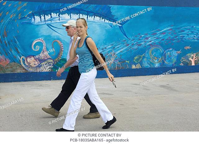 Saba, Fort Bay, tourists arriving from Sint Maarten