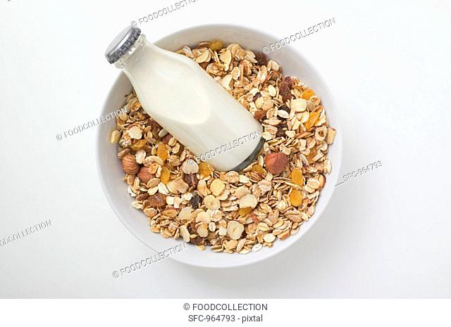 Cereal and bottle of milk
