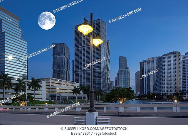 Brickell Skyline Downtown Miami Florida Usa