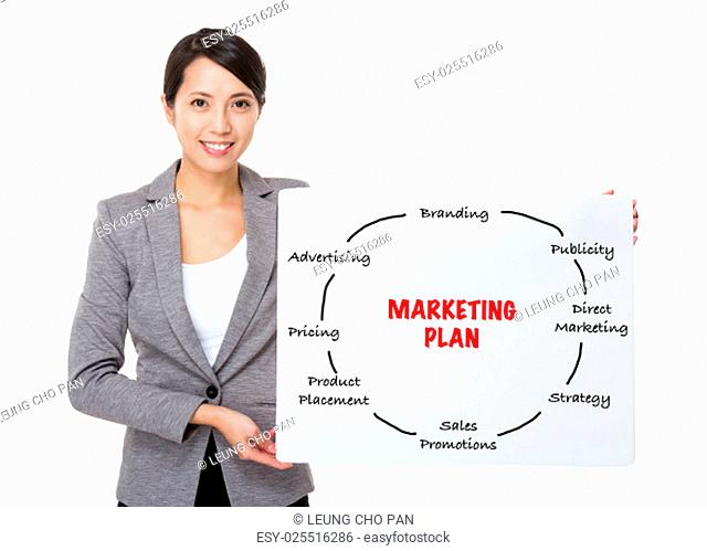 Young businesswoman holding a poster presenting marketing plan concept