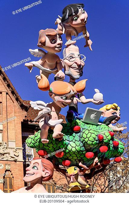 Papier Mache figures in the street during Las Fallas festival