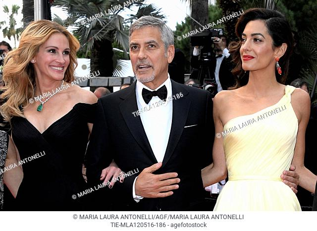 Julia Roberts, George Clooney with wife Amal Alamuddin during the red carpet of the film Money Monster. 69th Cannes Film Festival. Cannes