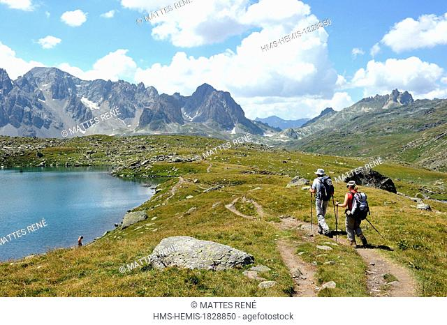 France, Hautes Alpes, Brianconnais area, the upper valley of La Claree, Rond lake (2446m)