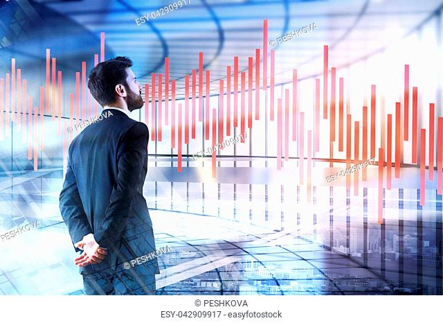 Side view of young businessman on abstract background with forex chart. Finance and future concept. Double exposure