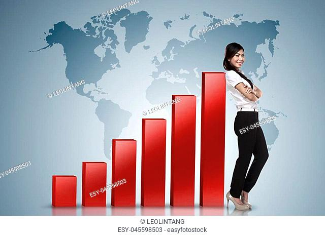 Asian business woman lean on increasing graph