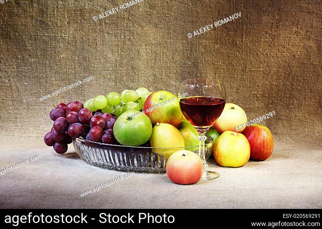 Classical still-life with fruit and glass