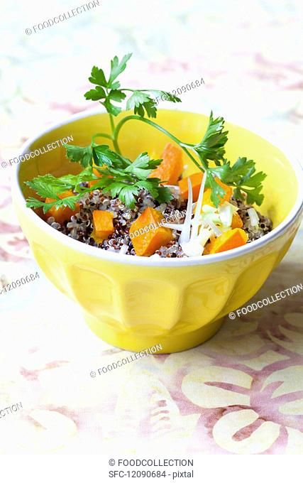 Colourful quinoa salad with pumpkin and parsley
