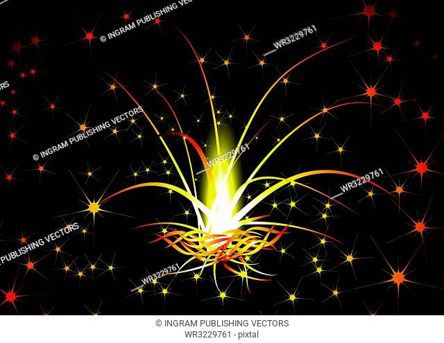 Red hot background with an illustrated fireworks explosion
