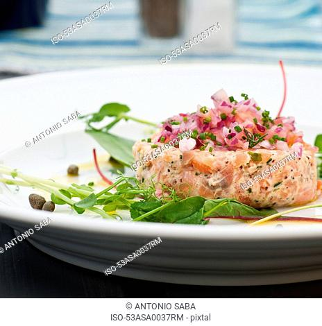 Plate of fish cake with salad