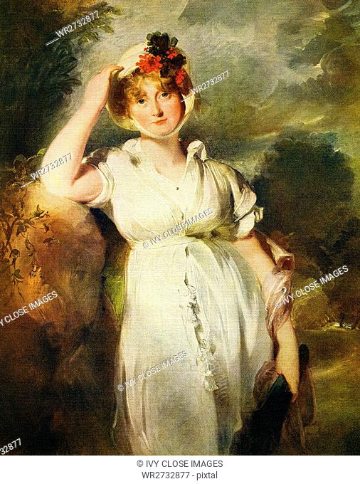 This painting, titled Caroline of Brunswick, Queen of George IV, is by the English artist Sir Thomas Lawrence (1769-1830)