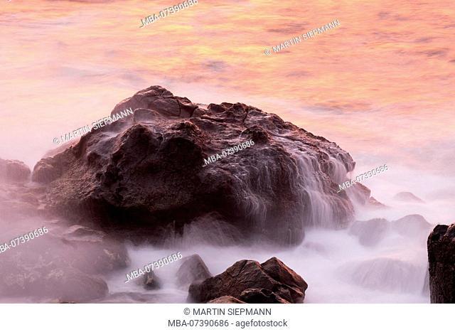 Rock in the sea surf, Valle Gran Rey, La Gomera, Canary Islands, Canaries, Spain