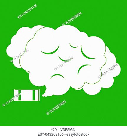 Tear gas icon white isolated on green background. illustration