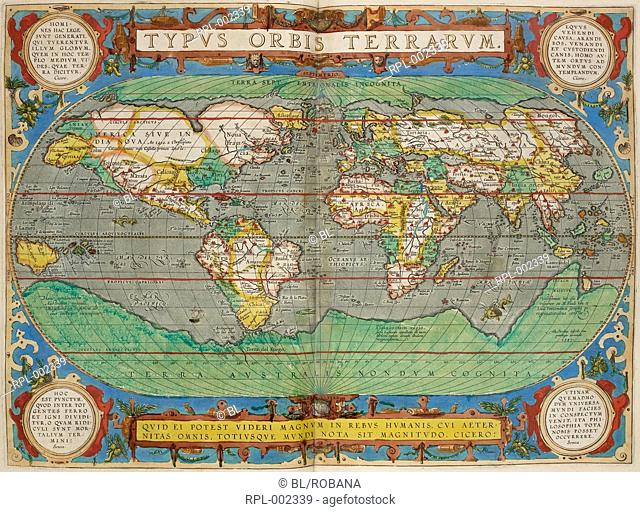 World map, Typus Orbis Terrarum. Image taken from Theatrum Orbis Terrarum. Originally published/produced in Antwerp, 1606