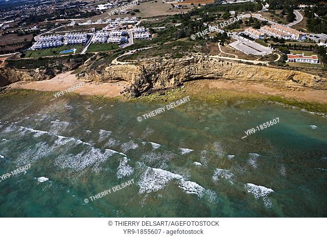 Beach and cliff Fuente el Gallo Aerial view Spain