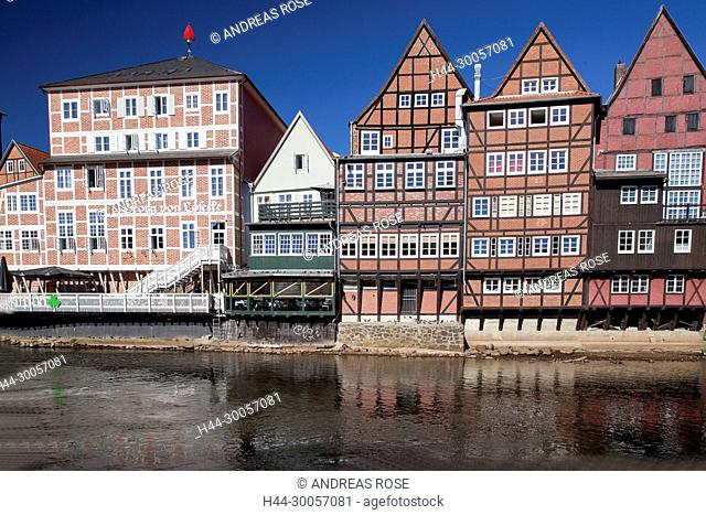 Half-timbered houses in the old town of Lueneburg on the Ilmenau, Lueneburg, Germany