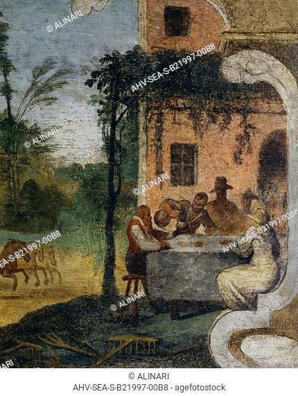 A house and garden and preparations for lunch, detail, by Guercino, housed in the Pinacoteca Civica, Cento (1610-1666 ca