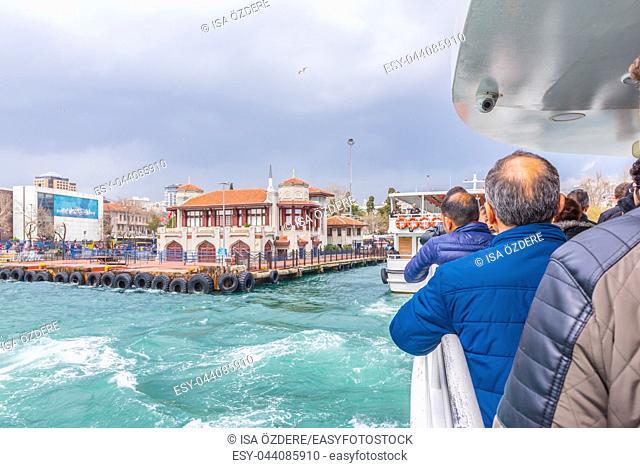 Unidentified people cruise from Uskudar Pier to Besiktas Pier in a big ferry boat in Istanbul,Turkey. 03 January 2018