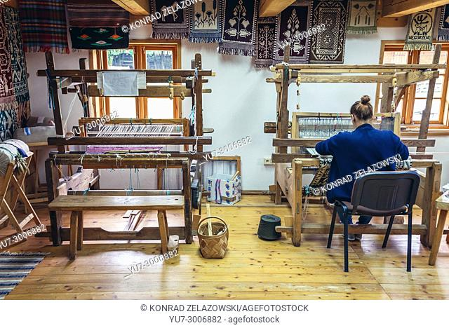 Weaving workshop in Museum of Folk Culture in Wegorzewo town, Warmian-Masurian Voivodeship of Poland