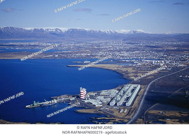 Looking over Reykjavik, Hafnarfjordur, Kopavogur and Gardabær from above, the Aluminium factory is in the front