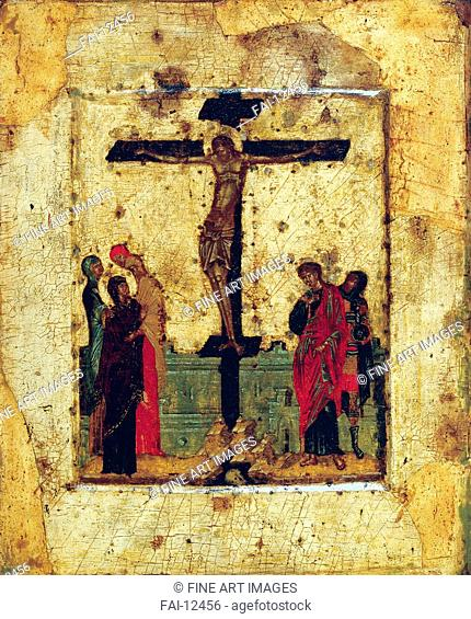 The Crucifixion. Byzantine icon . Tempera on panel. Icon Painting. End of 14th century. State Tretyakov Gallery, Moscow. 28,2x23,2. Painting