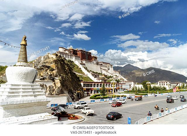 Lhasa, Tibet, China - The view of Potala Palace in the daytime