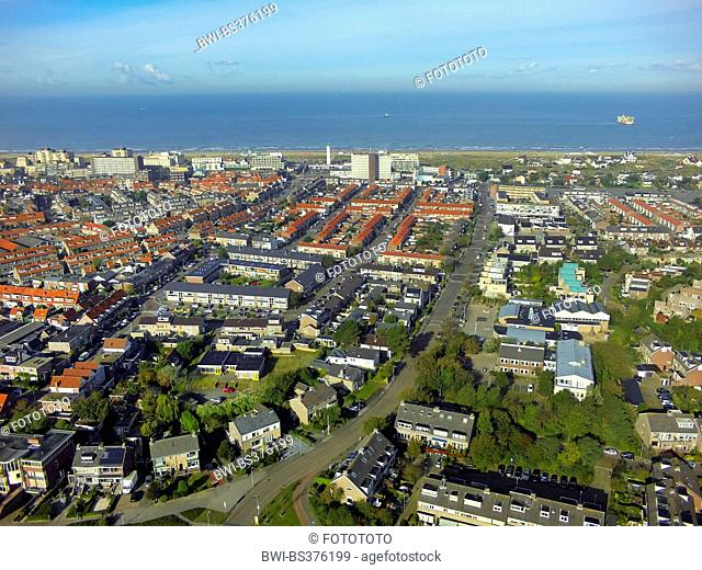 aerial view to the town an the Northern Sea, Netherlands, South Holland, Noordwijk