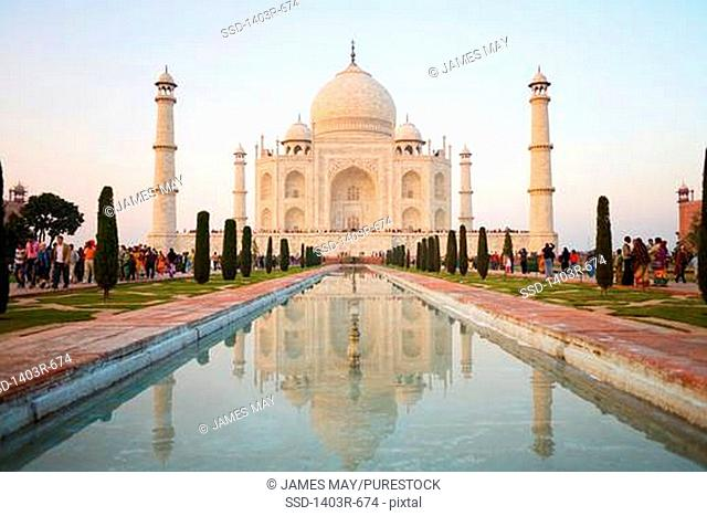 Reflection of a mausoleum in water, Taj Mahal, Agra, Uttar Pradesh, India