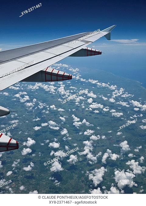 Airplane Wing above Cuba
