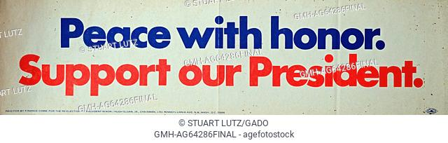 Peace with Honor, Support Our President, a red, white and blue bumper sticker expressing support for president Richard Nixon during the Vietnam War, 1965