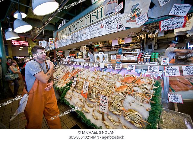 Views of the famous Pike Street Market in downtown Seattle, Washington State, USA Pacific Ocean This market is a huge destination for both residents and...