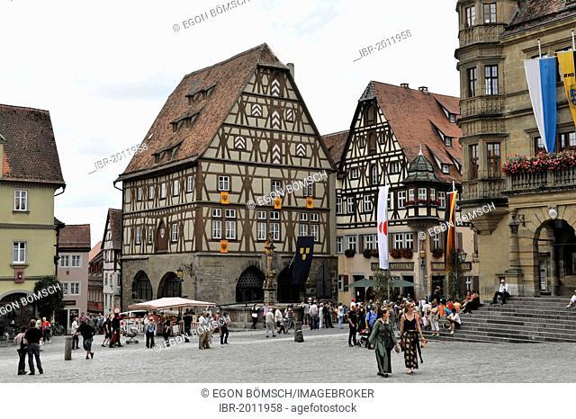 Marktplatz square near the town hall, historic city of Rothenburg ob der Tauber, Bavaria, Germany, Europe