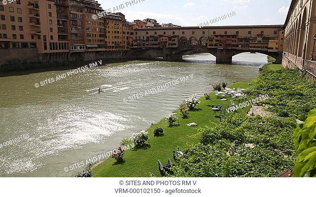 Exterior, LS, HA, Locked Down Shot, daylight, view of the Arno River upstream. Seen is the Ponte Vecchio, the oldest bridge of Florence