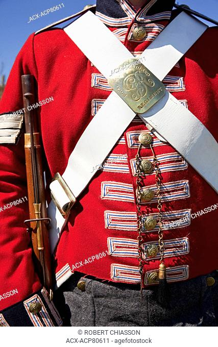 Close-up detail of a Royal Newfoundland Regiment uniform from the 1795 period worn by staff membre at Signal Hill National Historic Site