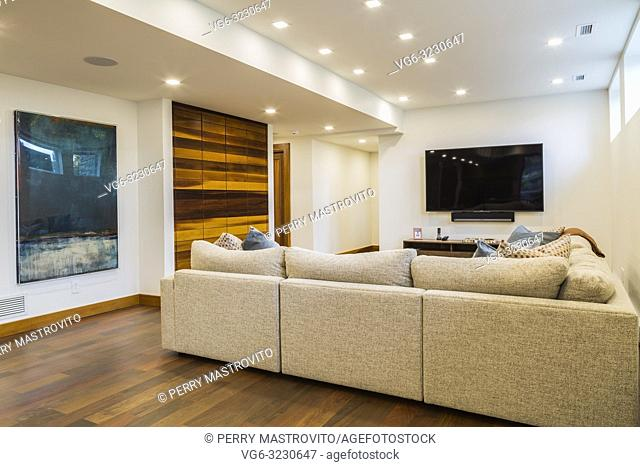 Grey upholstered sectional sofas in illuminated white basement family room with Ipe wood floor inside luxurious stained cedar and timber wood home