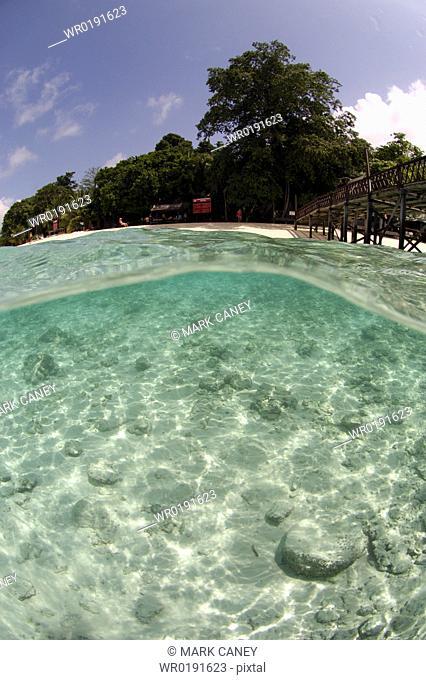 Over/sub surface view tropical island Borneo, Malaysia A4 only