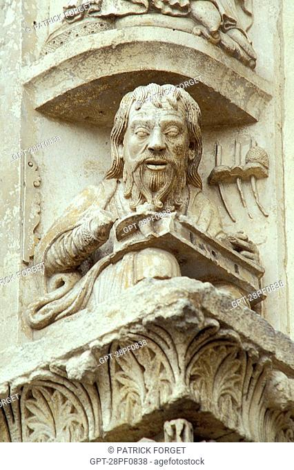 ARISTOTLE, DETAIL OF THE ROYAL DOOR, CHARTRES CATHEDRAL, EURE-ET-LOIR 28, FRANCE