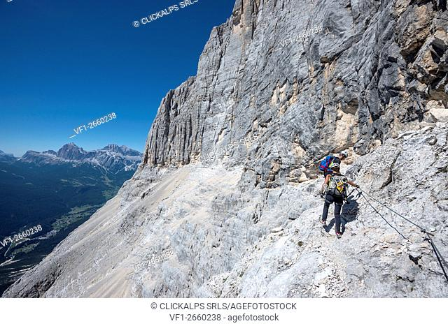 Sorapiss, Dolomites, Veneto, Italy. Climber on the via ferrata Berti