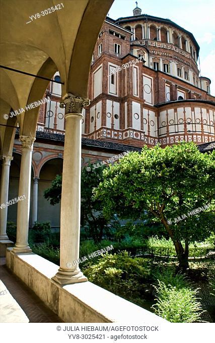 Inner courtyard of Santa Maria delle Grazie church, Milan, Italy