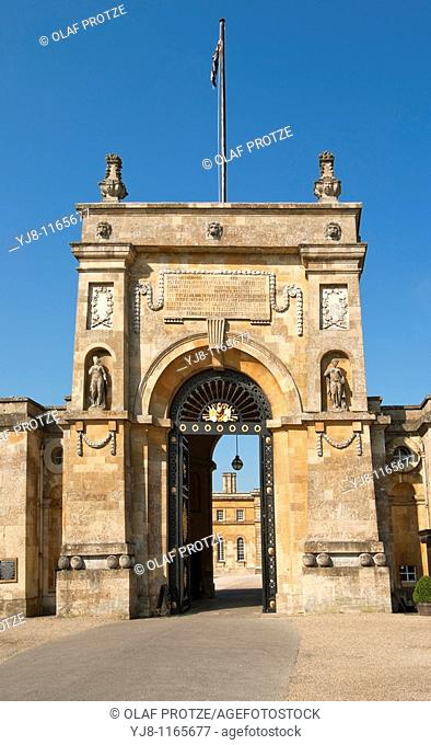 Image of Entrance Gate to Blenheim Palace near Oxford, South East England