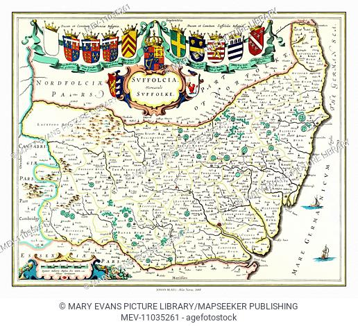 Map of Suffolk by Johan Blaeu